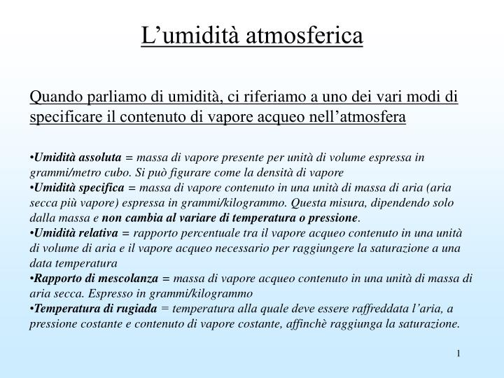 l umidit atmosferica n.