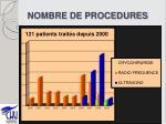 nombre de procedures