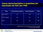 casos documentados e suspeitos de aquisi o de hiv por pas