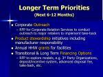 longer term priorities next 6 12 months