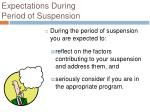 expectations during period of suspension