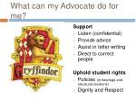 what can my advocate do for me