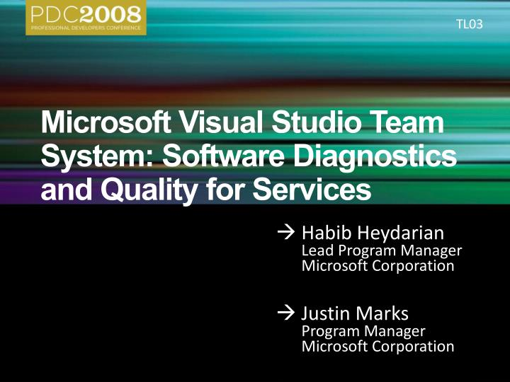 microsoft visual studio team system software diagnostics and quality for services n.