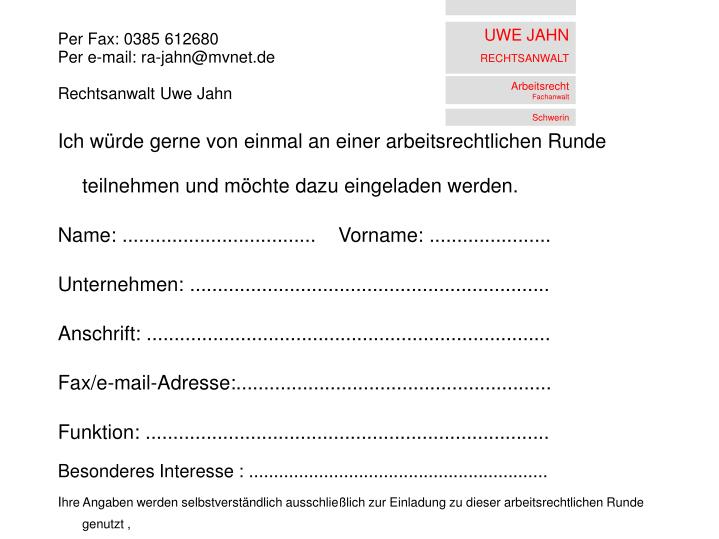 Per Fax: 0385 612680