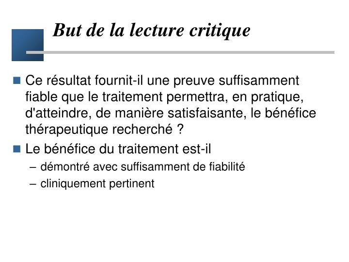But de la lecture critique