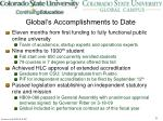 global s accomplishments to date