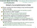 global s accomplishments to date