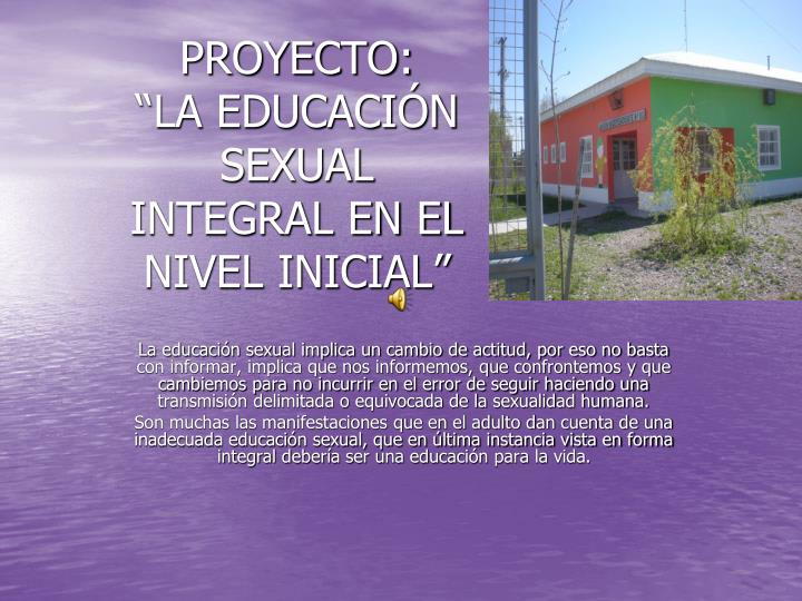 proyecto la educaci n sexual integral en el nivel inicial n.