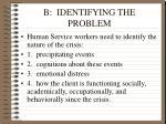 b identifying the problem