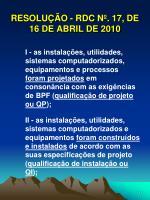 resolu o rdc n 17 de 16 de abril de 201011