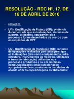 resolu o rdc n 17 de 16 de abril de 201015