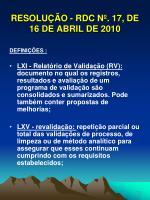 resolu o rdc n 17 de 16 de abril de 201017