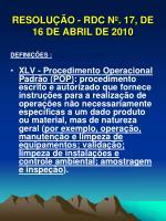 resolu o rdc n 17 de 16 de abril de 201018