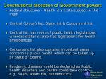 constitutional allocation of government powers