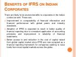 benefits of ifrs on indian corporates