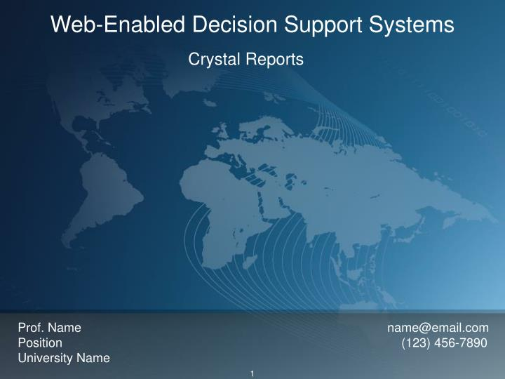 web enabled decision support systems n.