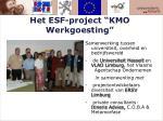 het esf project kmo werkgoesting