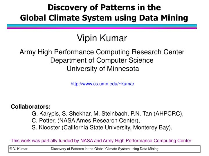 discovery of patterns in the global climate system using data mining n.