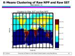 k means clustering of raw npp and raw sst num clusters 2