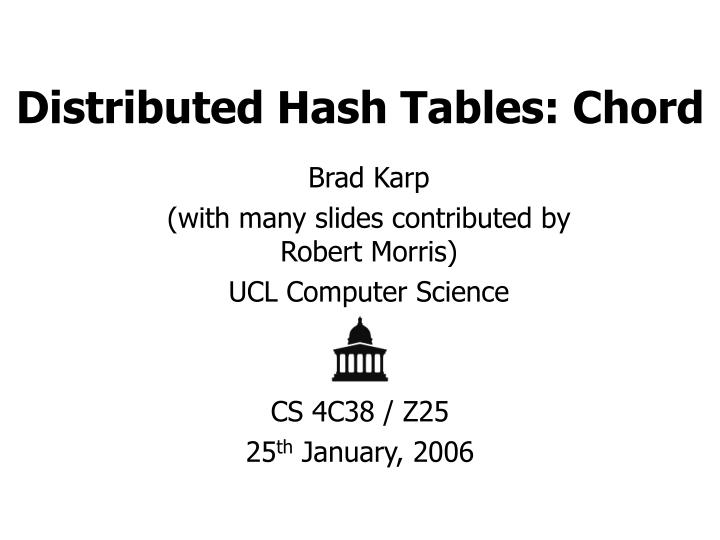 distributed hash tables chord n.