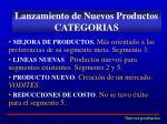 lanzamiento de nuevos productos categorias