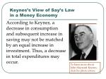 keynes s view of say s law in a money economy