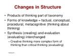 changes in structure