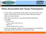 risks associated with study participation