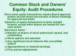 common stock and owners equity audit procedures