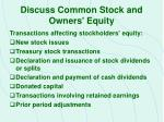 discuss common stock and owners equity