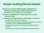 explain auditing bonds payable