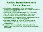 review transactions with related parties