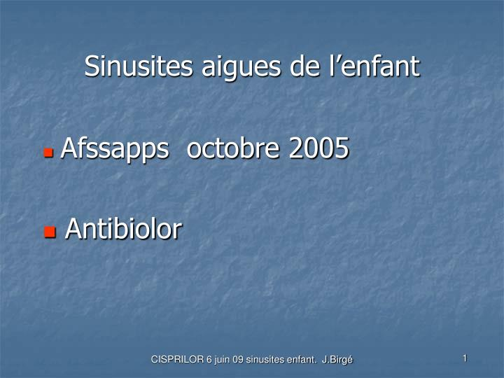 Sinusites aigues de l'enfant