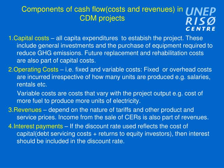 components of cash flow costs and revenues in cdm projects n.