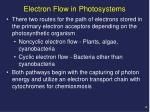 electron flow in photosystems