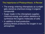 the importance of photosynthesis a review