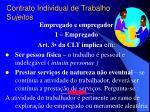 contrato individual de trabalho s ujeitos