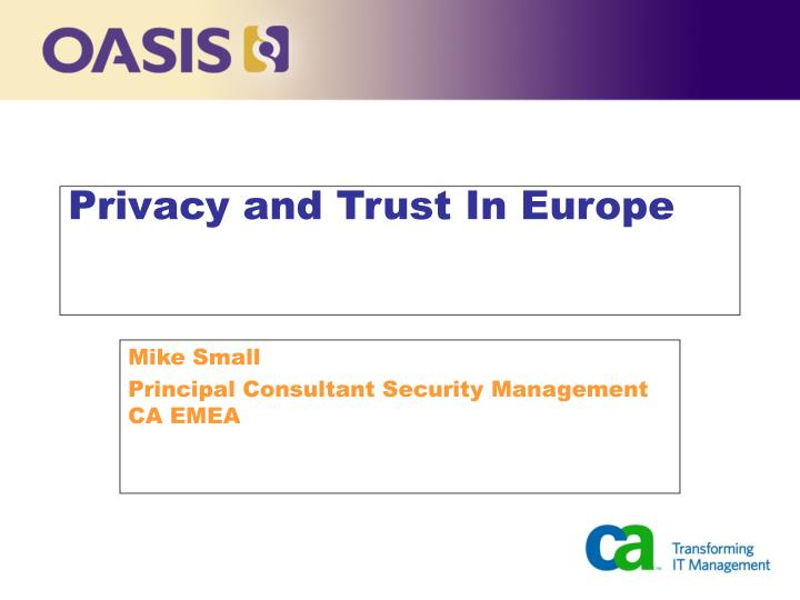 privacy and trust in europe n.