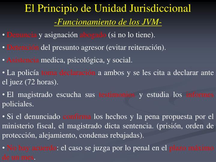 El Principio de Unidad Jurisdiccional