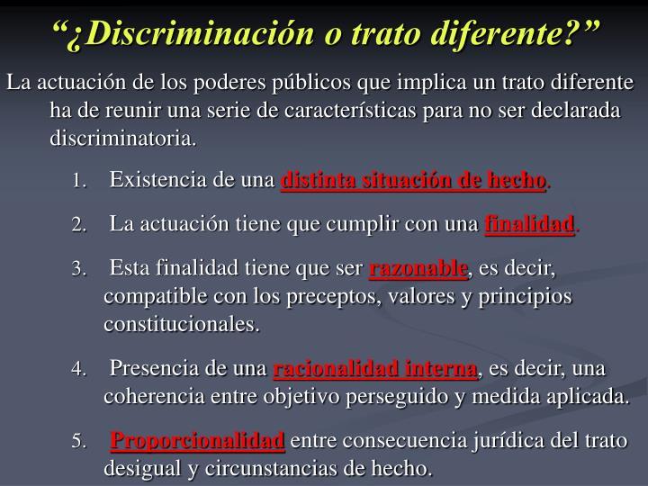 """""""¿Discriminación o trato diferente?"""""""