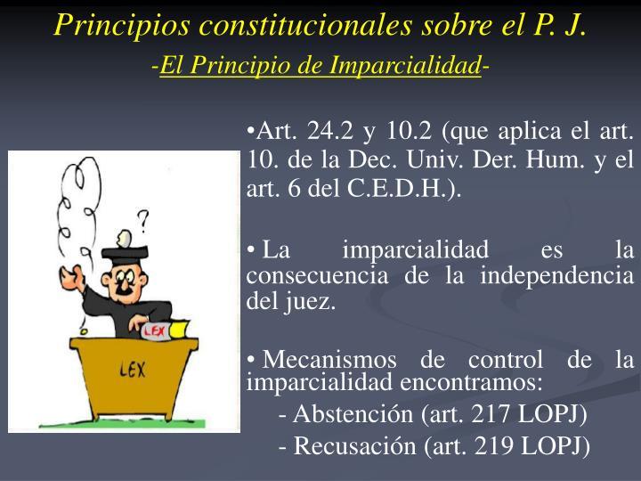 Principios constitucionales sobre el P. J.