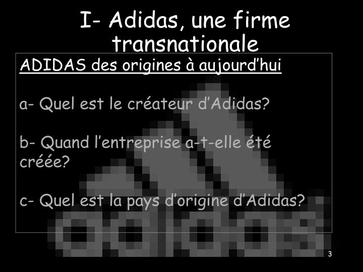 I adidas une firme transnationale