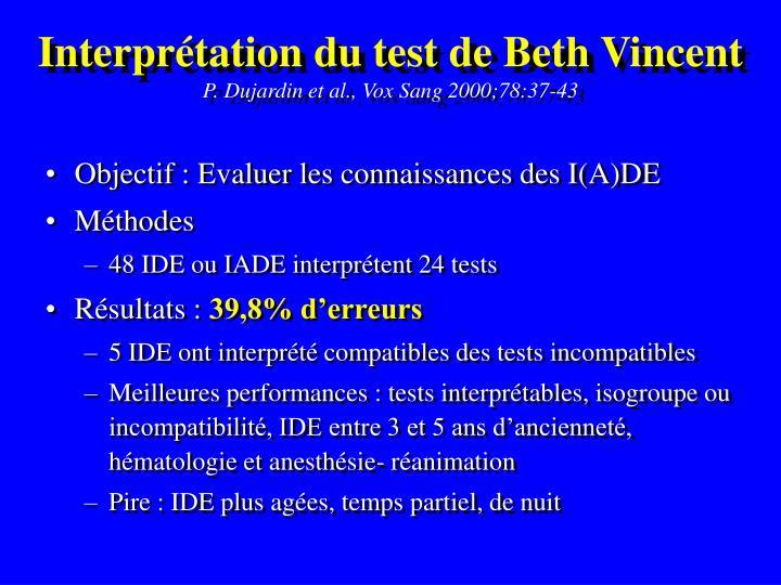 Interprétation du test de Beth Vincent