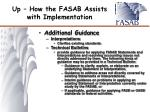 up how the fasab assists with implementation