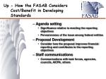 up how the fasab considers cost benefit in developing standards