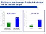 abstinence absolue apr s 6 mois de traitement lors de 2 tudes belges