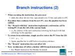branch instructions 2