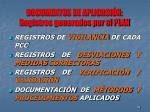 documentos de aplicaci n registros generados por el plan