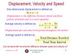 displacement velocity and speed