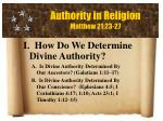 authority in religion matthew 21 23 27